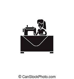 裁縫, ベクトル, 黒, icon., 印, 女, イラスト, 概念, 平ら