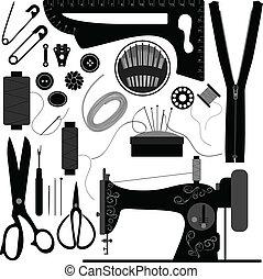 裁縫, 仕立屋, レトロ, 黒