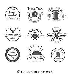 裁縫, 商店, 沙龍, 矢量, 圖象, 按鈕, 縫針, 或者, 剪刀, 以及, 頂針