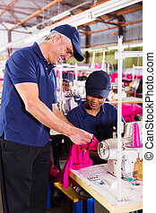 裁縫, 点検, 仕事, 織物, コントローラー, シニア, 品質