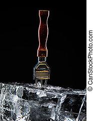 装置, ∥ために∥, 氷 一突き, 差し込まれた, 中に, a, ブロック, の, ice.