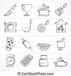 装置, アイコン, 料理