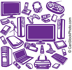 装置, エレクトロニクス, セット, アイコン, コンピュータ