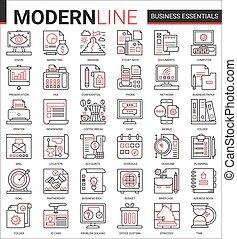 装置, オフィス, ビジネス, ベクトル, 薄くなりなさい, アイコン, 黒, 線, オブジェクト, セット, 赤, イラスト, 財政, 文書, 開発