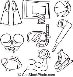 装置, スポーツ, コレクション, いたずら書き