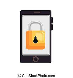 装置, セキュリティー,  smartphone, システム, アイコン
