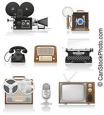 装置, セット, 芸術, アイコン, tv, 型, 隔離された, イラスト, 執筆, 録音, 電話, ビデオ, 背景, 写真, 古い, 白, ラジオ