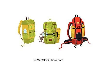 装置, ハイキング, ベクトル, ∥あるいは∥, キャンプ, セット, ギヤ, バックパック