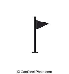 装置, ベクトル, ∥あるいは∥, isolated., design., アイコン, ゴルフ, accessory., 平ら, イラスト, 旗