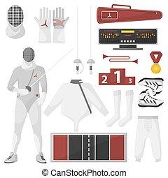 装置, ベクトル, スポーツ, set., フェンシング