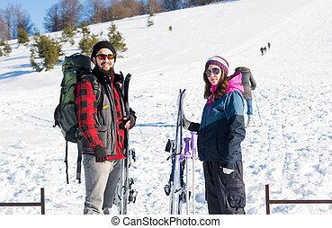 装置, 偶力スキー, 山, 雪が多い