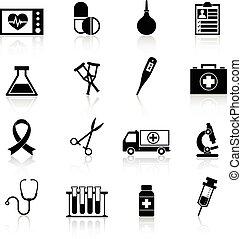 装置, 医学, 黒, アイコン