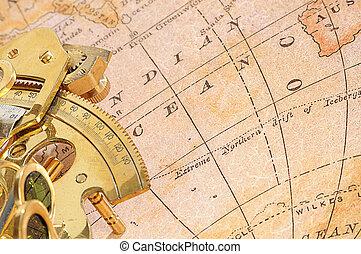 装置, 地図, 古い, ナビゲーション, 背景