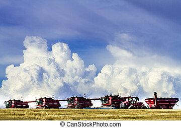 装置, 大きい, 赤, コンバイン, 農業