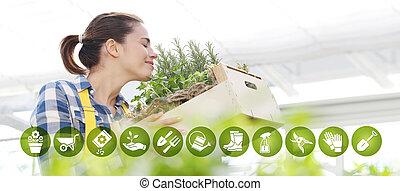装置, 女, 園芸, 庭, インターネット商業, 春, アイコン, 芳香がする, ハーブ, 概念, 微笑, におい, 白い背景, スパイス