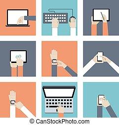 装置, 手を持つ, デジタル