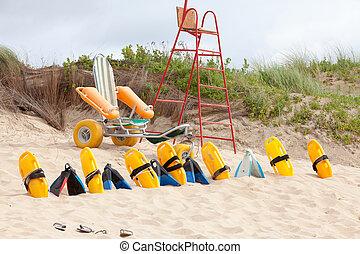 装置, 椅子, 浜,  lifesaver