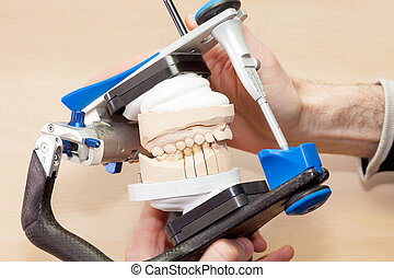 装置, 歯医者の, 人工装具である, 美顔術