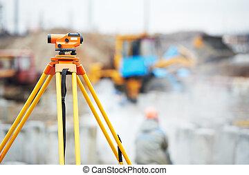 装置, 測量技師, 光学, 屋外で, レベル