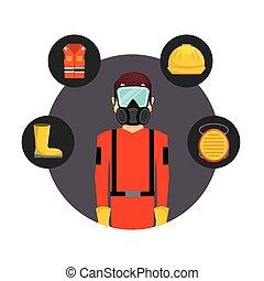 装置, 産業, 安全, 平ら, アイコン