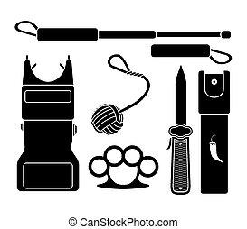 装置, 自己 防衛, -, pictogram