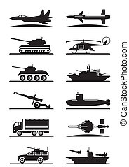 装置, 軍, セット, アイコン