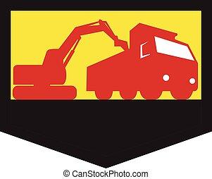 装货, 盾, 堆存处卡车, retro, 挖掘机