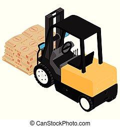 装载, 水泥, 货物, 扁平木具, 可靠, 重, 搬运, 袋子, 木制, 铲车, 卡车