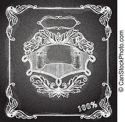 装飾用である, ありなさい, 使われた, スクラップブック, 旗, banner., 型, カード, 皇族, 招待, チョーク, ベクトル, デザイン, レトロ, 結婚式, board., others., 旗, element., 缶