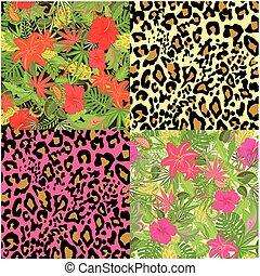 装飾用である, エキゾチック, 生地, 背景, 織物, ペーパー, 包むこと, seamless, コレクション, 花, トロピカル, 花の意匠, 壁紙, 動物の 印刷物, 網, 葉
