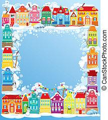 装飾用である, カラフルである, town., フレーム, houses., ホリデー, 年, 小さい, 新しい, 妖精, クリスマスカード