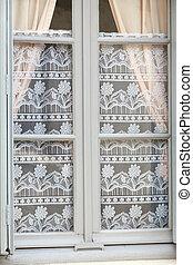 装飾用である, カーテン, 古い, レース, 窓, 白