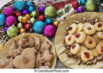装飾用である, クッキー, ボール, テーブル, gingerbread, クリスマス