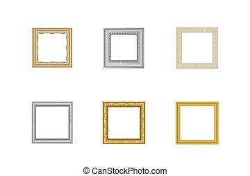 装飾用である, コーナー, フレーム, set., 線, 型, picture., 写真フレーム, 金, タイ