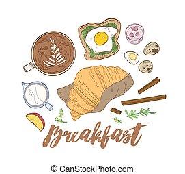 装飾用である, サンドイッチ, クロワッサン, 優雅である, おいしそうである, 朝食, スタイル, 型, -, 引かれる, 構成, 食物, restaurant., イラスト, 手, 食事, coffee., ヨーグルト, 朝, 現実的, ベクトル, 卵
