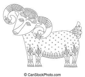 装飾用である, スタイル, シンボル, goat, 年, 民族, 2015, 図画