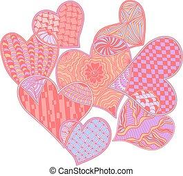 装飾用である, スタイル, パターン, zentangle, シンボル。, 華やか, 心