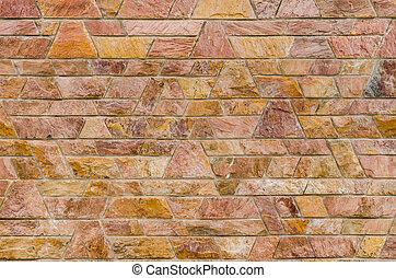 装飾用である, スタイル, 色, パターン, スレート, 現代, 石, 表面, 壁, 形, デザイン, セメント, 台形, 赤