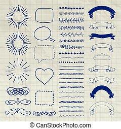 装飾用である, セット, 手, ベクトル, デザイン, 引かれる, 要素