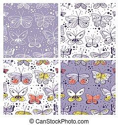 装飾用である, セット, 芸術, illustration., butterfly., パターン, 仕事, seamless, 手, ベクトル, 引かれる, 創造的, 要素, design.