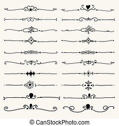 装飾用である, セット, 要素, decoration., calligraphic