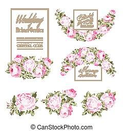 装飾用である, セット, card., 優雅である, 花束, 春, 招待, garland., ばら, flowers., ベクトル, バラ, 結婚式, 花, 小さい, illustration.