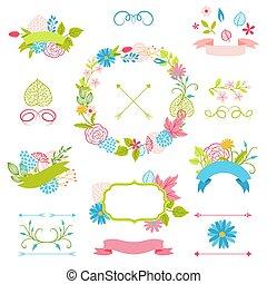 装飾用である, セット, flowers., リボン, 春