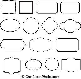 装飾用である, セット, frames., 黒, ラウンド, 型, 広場