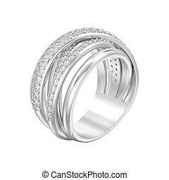 装飾用である, ダイヤモンド, criss 十字, イラスト, 隔離された, リング, 銀, 3d