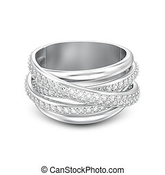 装飾用である, ダイヤモンド, criss, 隔離された, イラスト, 交差点, 影, リング, 銀, 3d