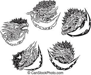 装飾用である, テンプレート, 頭, ドラゴン