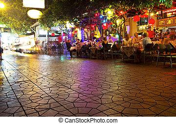 装飾用である, ネオンライト, 中に, 通り, バンコク