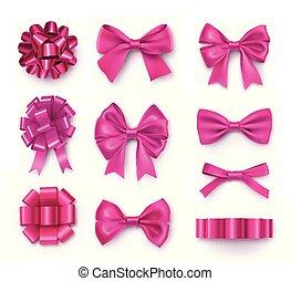 装飾用である, ピンク, お辞儀をする, リボン, 贈り物