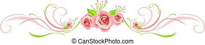装飾用である, ピンク, 挨拶, ばら, デザイン, ボーダー, カード